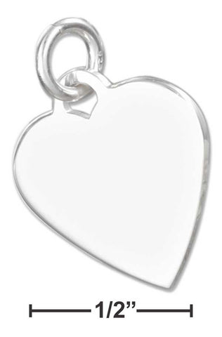 Sterling Silver High Polish Engravable Heart Charm | Jewelry Store