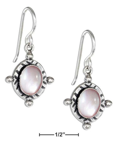 Sterling Silver Oval Pink Mussel Earrings On French Wires | Jewelry Store