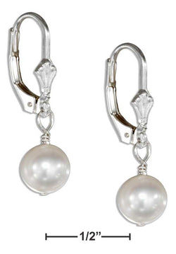 Sterling Silver White Fresh Water Cultured Pearl Drop Earrings On Leverbacks | Jewelry Store