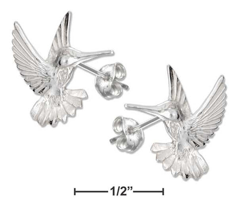 Sterling Silver High Polish And Diamond Cut Hummingbird Post Earrings | Jewelry Store