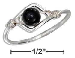 Sterling Silver Wire Ring With Onyx Beads | Jewelry Store