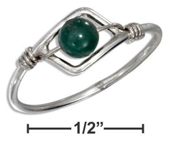 Sterling Silver Wire Ring With Malachite Bead | Jewelry Store