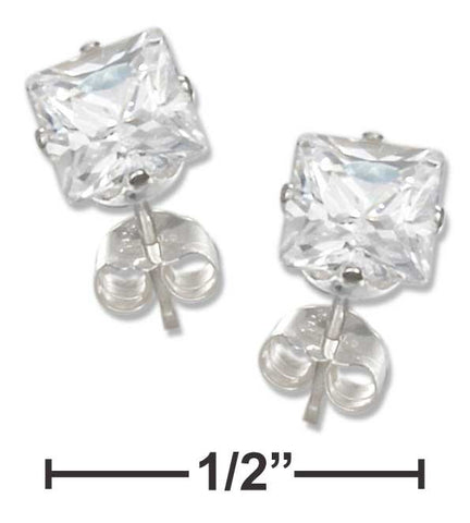 Sterling Silver 5mm Square Clear Cubic Zirconia Posts | Jewelry Store