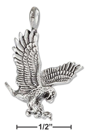 Sterling Silver Antiqued Flying Eagle Pendant | Jewelry Store