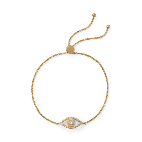 14 Karat Gold Plated CZ Evil Eye Friendship Bolo Bracelet | Jewelry Store