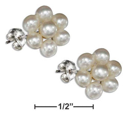 Sterling Silver Flower Cluster White Fresh Water Cultured Pearl Earrings | Jewelry Store