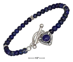 "Sterling Silver 7"" Beaded Lapis With Lapis Heart Toggle Bracelet 