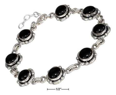 "Sterling Silver 7-8"" Continuous Adjustable Link Simulated Onyx Concho Bracelet 