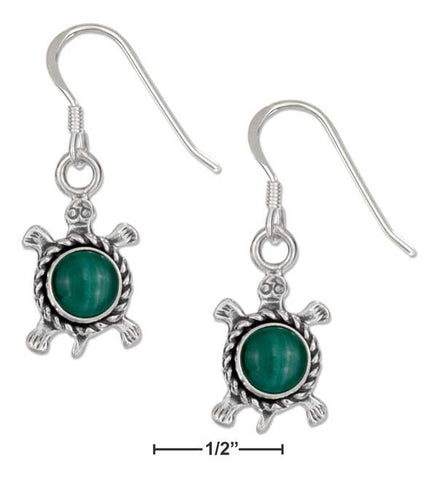 Sterling Silver Antiqued Simulated Malachite Turtle Earrings On French Wires | Jewelry Store