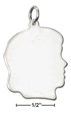Sterling Silver Large Engravable Girl Profile Charm | Jewelry Store