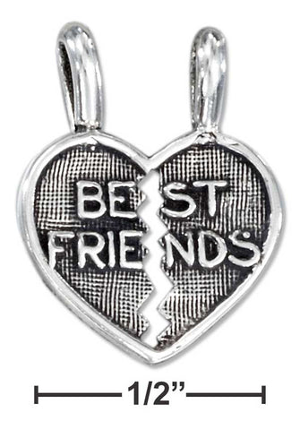 "Sterling Silver Two Piece Break Apart Heart ""Best Friends"" Pendant 