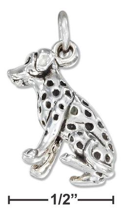 Sterling Silver Three Dimensional Sitting Dalmatian Dog Charm | Jewelry Store