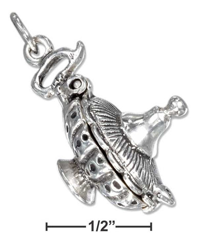Sterling Silver Three Dimensional Genie Lamp Charm With Movable Lid | Jewelry Store