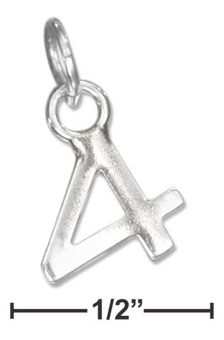 "Sterling Silver Fine Lined ""4"" Number Charm 