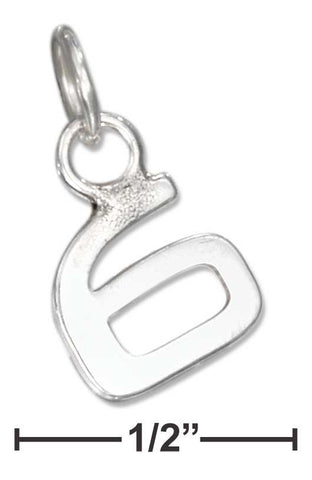 "Sterling Silver Fine Lined ""6"" Number Charm 