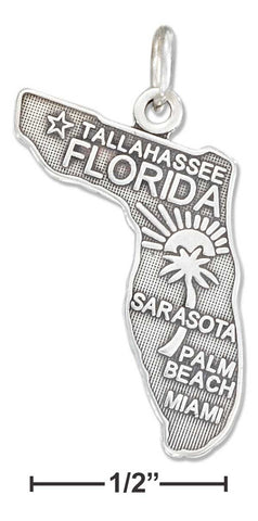 Sterling Silver Antiqued Florida State Charm | Jewelry Store