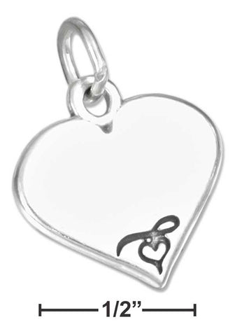 Sterling Silver Engravable Heart Charm With Heart Stamping | Jewelry Store