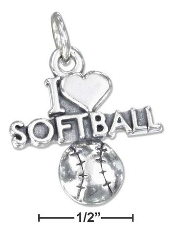 "Sterling Silver Antiqued ""I Heart Softball"" Charm With A Softball 