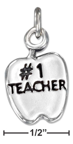 "Sterling Silver Apple With ""#1 Teacher"" Charm 