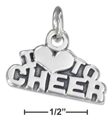 "Sterling Silver Antiqued ""I Heart To Cheer"" Charm 