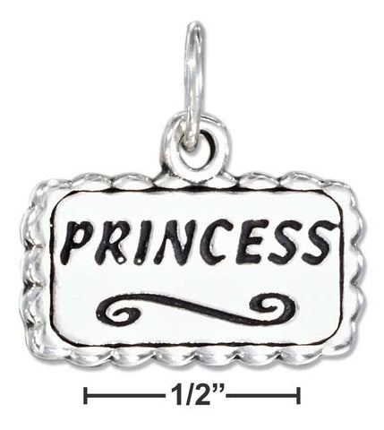 "Sterling Silver Antiqued Plaque With ""Princess"" Charm 