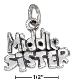 "Sterling Silver Antiqued ""Middle Sister"" Charm 
