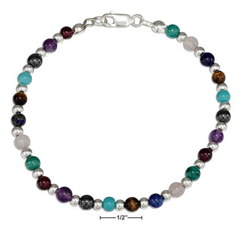 "Sterling Silver 7.25"" Continuous Multiple Color Stone Bead Bracelet 