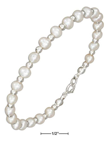 "Sterling Silver 7.5"" Silver And Fresh Water Cultured Pearl Beaded Bracelet 