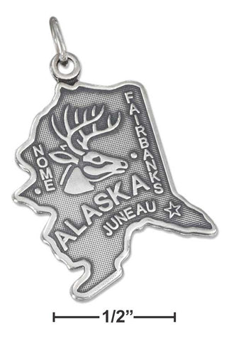 Sterling Silver Antiqued Alaska State Charm | Jewelry Store