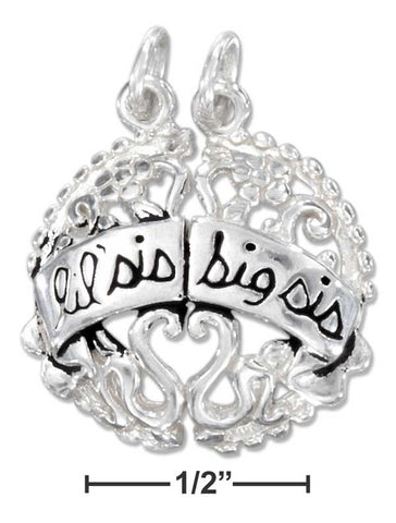 "Sterling Silver Break Apart Round ""Lil' Sis Big Sis"" Charm 