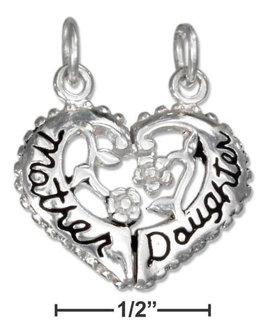 "Sterling Silver Two Piece Break Apart Heart ""Mother Daughter"" Charm 