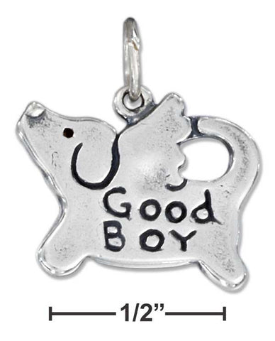 "Sterling Silver ""Good Boy"" Dog Charm 