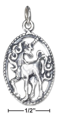 Sterling Silver Antiqued Unicorn Charm In Oval | Jewelry Store