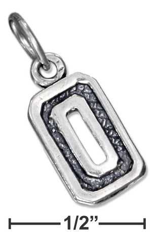 "Sterling Silver Jersey ""0"" Number Charm 