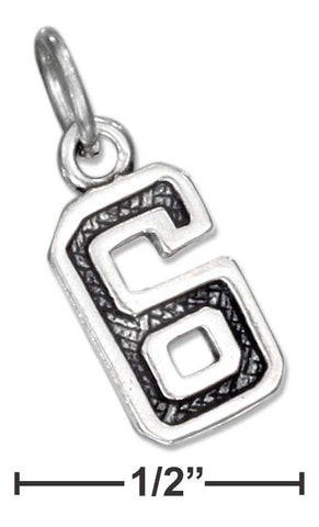 "Sterling Silver Jersey ""6"" Number Charm 