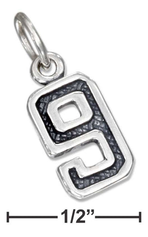 "Sterling Silver Jersey ""9"" Number Charm 