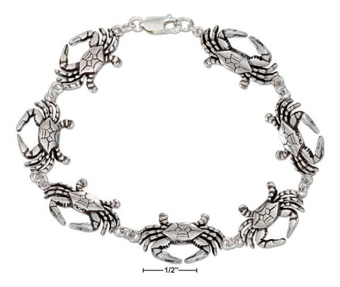 "Sterling Silver 7"" Continuous Linked Crab Bracelet 