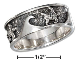 Sterling Silver Waves And Turtles Band Ring | Jewelry Store