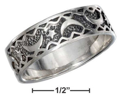 Sterling Silver Moon And Star Band Ring With Antiqued Inset | Jewelry Store