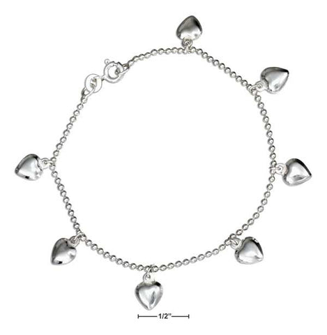 "Sterling Silver 7"" Puffed Heart Charm Bracelet On Bead Chain 