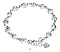 "Sterling Silver 9""-10"" Adjustable Continuous Sun Link Anklet 