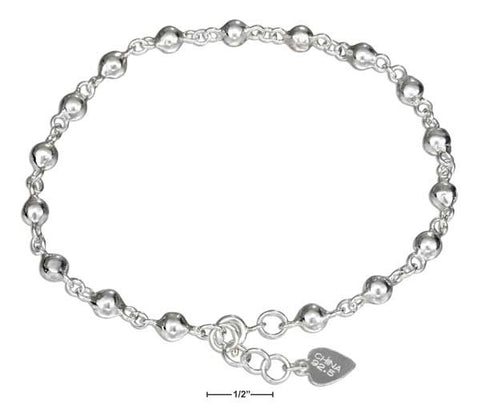"Sterling Silver 9""-10"" Adjustable Ball Link Anklet 