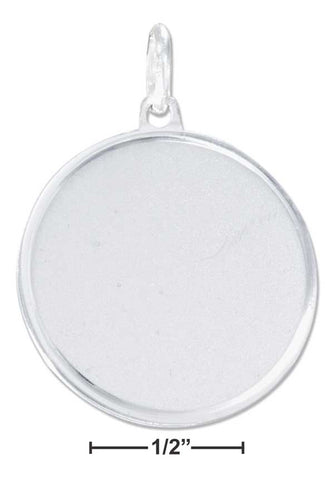 Sterling Silver 24mm Round Engravable Disk Charm With Satin Finish | Jewelry Store