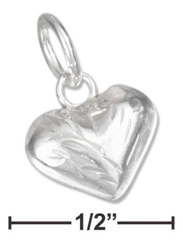 Sterling Silver Etched Small Puffed Heart Charm | Jewelry Store