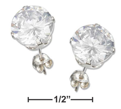Sterling Silver 8mm Round Cubic Zirconia Post Earrings | Jewelry Store