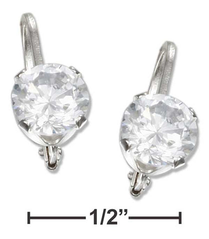 Sterling Silver 6mm Round Cubic Zirconia Leverback Earrings | Jewelry Store