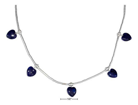 "Sterling Silver 16"" Liquid Silver And Beaded Lapis Hearts Necklace 