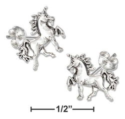 Sterling Silver Mini Unicorn Earrings On Hypo-Allergenic Steel Posts And Nuts | Jewelry Store