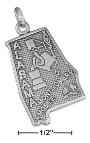 Sterling Silver Antiqued Alabama State Charm | Jewelry Store
