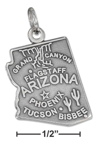 Sterling Silver Antiqued Arizona State Charm | Jewelry Store